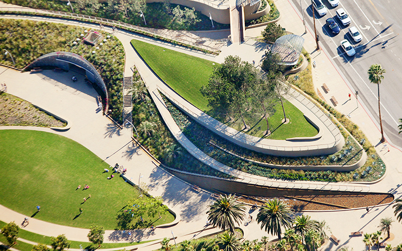 aerial view of Tongva Park